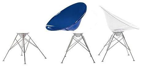 Kartell Ero//S// Stuhl mit Eiffelturmgestell blau transparent