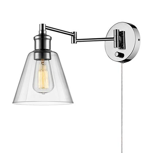 Globe Electric LeClair 1-Light Plug-In or Hardwire Industrial Wall Sconce, Chrome Finish, On/Off Rotary Switch, 6 Foot Clear Cord, Clear Glass Shade, - Chrome Wall