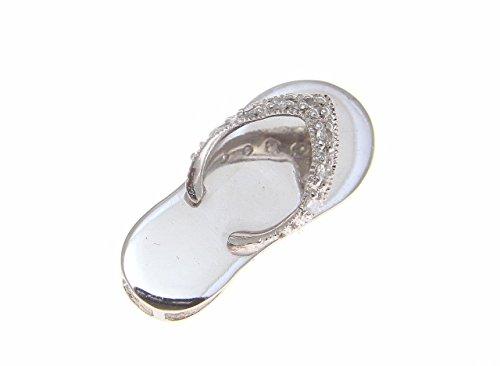 Arthur's Jewelry 14K Solid White Gold Hawaiian flip Flop Slipper (H-I Color, I1-I2 Clarity) Diamond Pendant