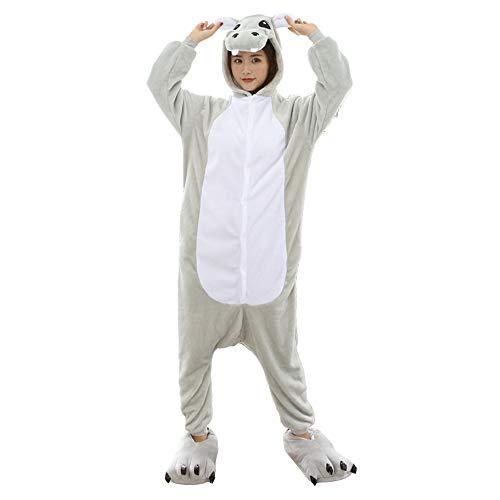 Unisex Adult Animal One Piece Pajamas Onesie Cosplay Hippo C