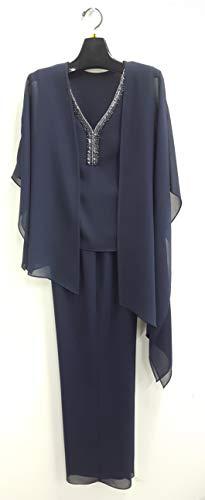 Le Bos Women's Plus Size 3 Piece Embellished V-Neck Pant Set, Navy, 16W