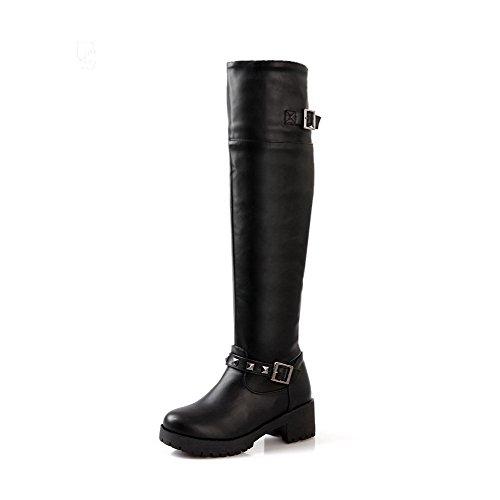 punta alto de altas negras de con y sólidas tacón redonda AgooLar bota Botas con cierre qXZxt