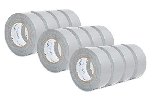 12 Pack Duct Tape, Tear by Hand Design, Silver, Strong 7.3mil Thickness, Designed for Home and Office use with Commercial Grade Strength, 60 Yard Length, 720 Total - Pack Standard 12 Tear Offs
