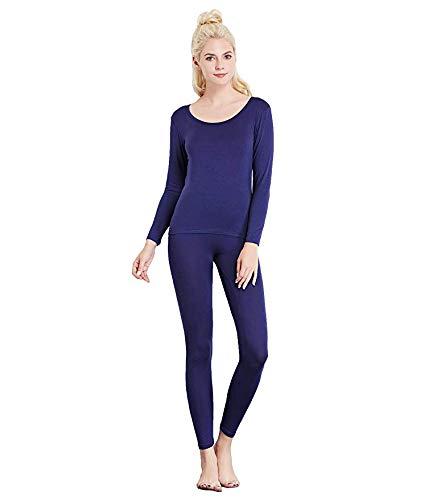 Underwear Thermal Blue - Liang Rou Women's Crewneck Long Johns Ultra Thin Thermal Underwear Set Navy Blue S