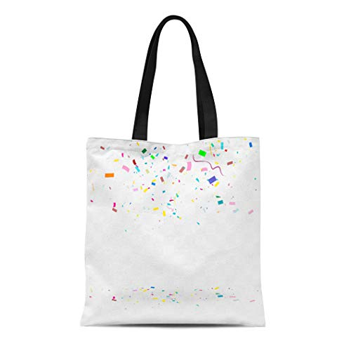 Semtomn Cotton Canvas Tote Bag Colorful Celebration Abstract Many Falling Tiny Confetti Pieces Blue Reusable Shoulder Grocery Shopping Bags Handbag Printed