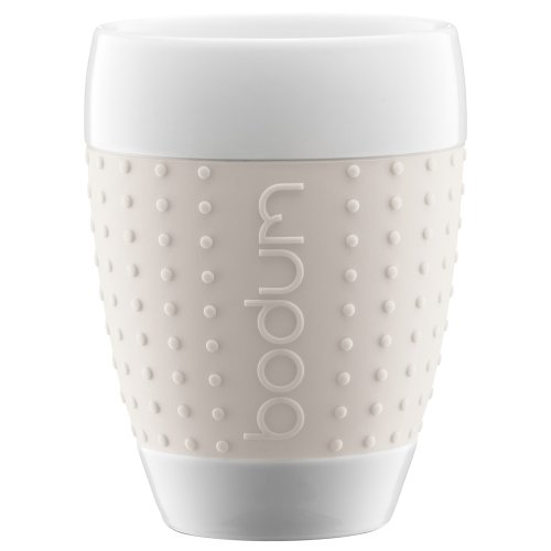 Bodum 13-1/2-Ounce Pavina Porcelain Cups with Silicone Grip, White, Set of 2