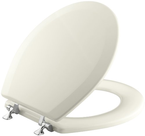 KOHLER K-4726-T-96 Triko Round-front Molded-Wood Toilet Seat with Polished Chrome Hinges, Biscuit