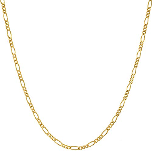 Lifetime Jewelry Figaro Chain 1.5mm - up to 20X More 24k Gold Plating Than Other Pendant Necklaces - Premium Fashion Jewelry Made Thin for Charms (18, Gold-Plated-Base)