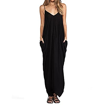 E.JAN1ST Women's Spaghetti Strap Dress Low V-neck and Low V-back Long Maxi Dress