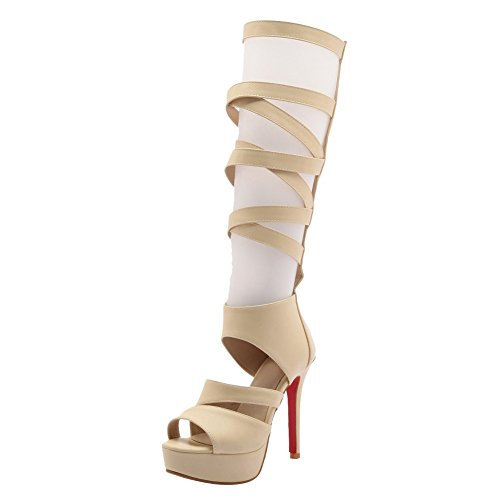Charm Foot Womens Platform High Heel Zipper Heeled Sandals Boots Beige yuQAvoEElI