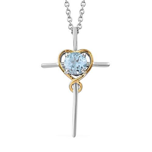 Shop LC Delivering Joy Mix Metal Platinum Plated Round Sky Blue Topaz Cross Chain Pendant Necklace 20