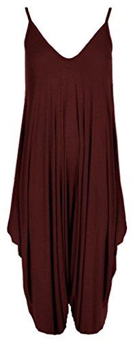 RM Fashions Women's Plus Size Spaghetti Strap Jumpsuit V Neckline Loose Harem One Piece Romper (3X-Large, Wine)