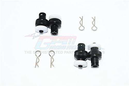 GPM Aluminium Front & Rear Magnetic Body Mount For Traxxas TRX-4 Tactical Unit Body - 4Pc Set Black