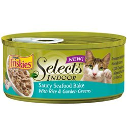 Friskies Selects Indoor Saucy Seafood Bake with Rice and Garden Greens Canned Cat Food (24/5.5-oz cans), My Pet Supplies