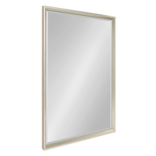 Kate and Laurel Calder Large Framed Decorative Rectangle Wall Mirror, 25.5 x 37.5 Silver by Kate and Laurel