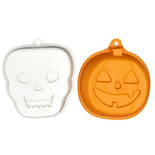 Halloween Thanksgiving Silicone Cake Pumpkin Pie Mold Pans 2Pack: 3D Orange Pumpkin+White Skull -