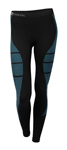 Seamless Base Layer Pants - Stark Soul Women's Functional Thermal Underwear Breathable Active Base Layer Set (Pants/Black-Turquoise, S/M)