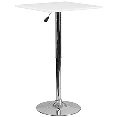 Flash Furniture 23.75'' Square Adjustable Height White Wood Table (Adjustable Range 33'' - 40.5'') (White Bistro Dining Table)