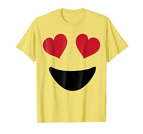 Emoji T Shirt Halloween Costume Heart Eyes and A Big Smile -