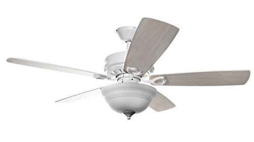 Hyperikon 42 Inch Ceiling Fan, with Remote, Classical Style, White, 5 Reversible Blades and Frosted Dome Light ()