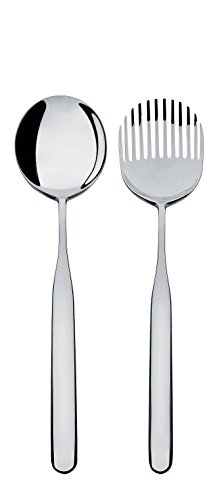 AlessiCollo-alto Salad Set in 18/10 Stainless Steel Mirror Polished, Silver