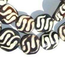 - Batik Bone Beads - Full Strand of Fair Trade African Beads - The Bead Chest (Circular, Traditional Design)