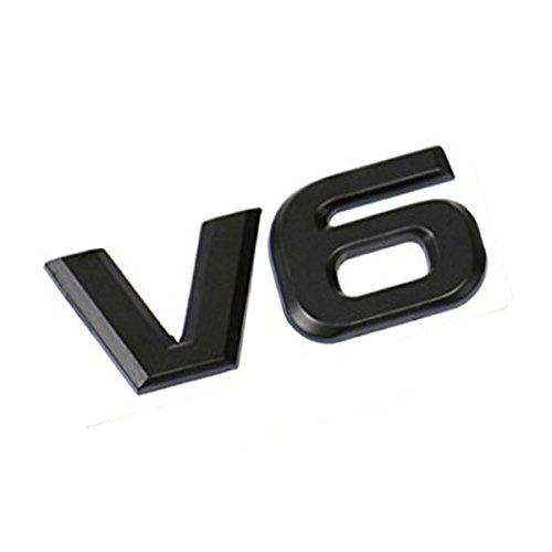 Dsycar 3D Metal Car Decoration Metal Adhesive V6 Truck Car Badge Emblem Sticker for Universal Cars Moto Bike Car Styling Decorative Accessories (V6-Black)