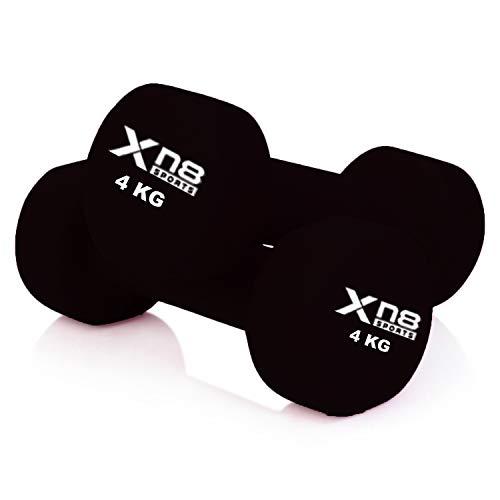 Juego de mancuernas de neopreno de Xn8 Sports, de 1 kg, 2 kg, 3 kg, 4 kg, 5 kg, 6 kg, 8 kg, 10 kg, vienen un par, unisex, pesas para hacer ...