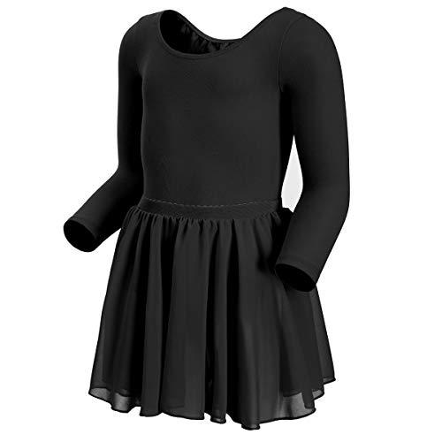 MAGIC TOWN Long Sleeve Leotard Ballet Tutu Dress for Toddler Girls Dance (10-12,Black) ()