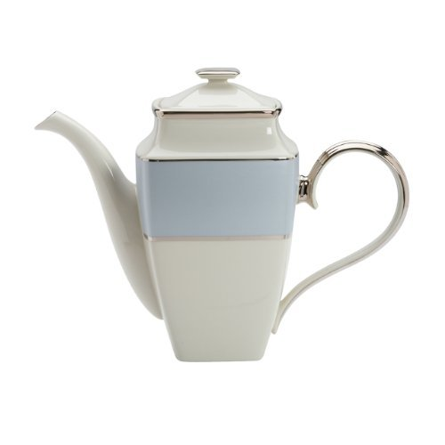 Coffee Banded Pot Platinum (Lenox Blue Frost Platinum Banded Ivory China Square Coffeepot by Lenox)