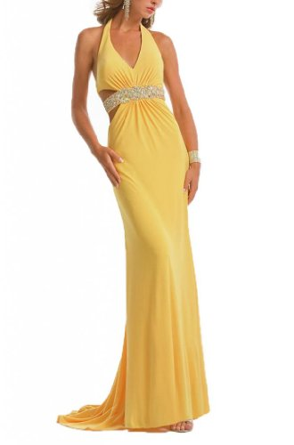 Dearta Women's Sheath Halter Sweep/Brush Train Evening Dress US 16 (Halter Brush Train)