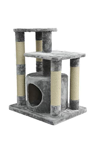 AmazonBasics Small Cat Tree Tower With Condo And Scratching Post - 26 x 19 x 31 Inches, -