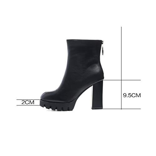 Tacones De Vestir Cremallera Mujer Negro Altos Yan Alto Botas Bruto Zapatos Súper Tacón Cuero Puntiaguda En Invierno Moda fqOxBwC1