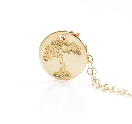 Gold Tree Of Life Necklace ,Tree Of Life Pendant 14K Gold Filled Sterling Silver Disc Charm Family Tree Handmade Jewelry Tree Necklace