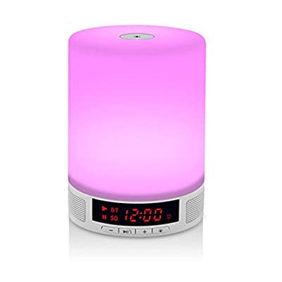 Jmline Color Changing Night Lights Wireless Bluetooth Speaker Portable Speakers Desk Lamp Touch Control LED NightLight Alarm Clock TF Card Supported