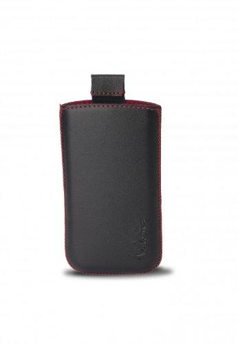 iPhone 3Gやスマートフォン用のバレンタポケットブラックレッド01レザーケース - レッドステッチ付きブラック   B0072QWCE2