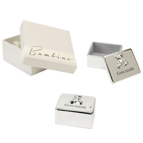 (Bambino Baby Christening Gifts. Silverplated First Tooth Keepsake Box with Teddy Bear)