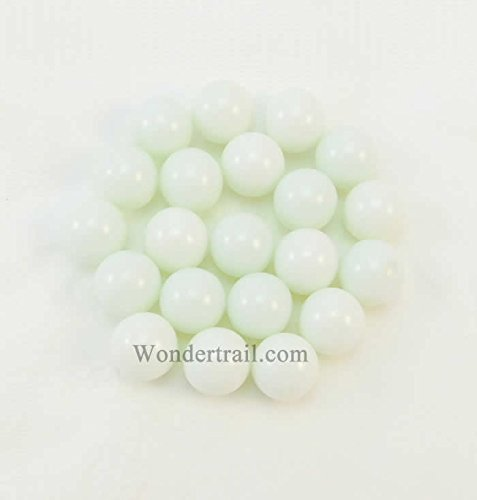 WONGM016 White Opaque 13-15mm Glass Marbles Bag of 20