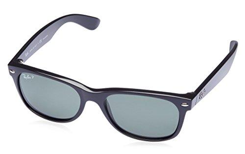 Ray-Ban RB2132 New Wayfarer Polarized Sunglasses, Black/Polarized Green, 55 mm (Sunglasses Ray Ban New Wayfarer)