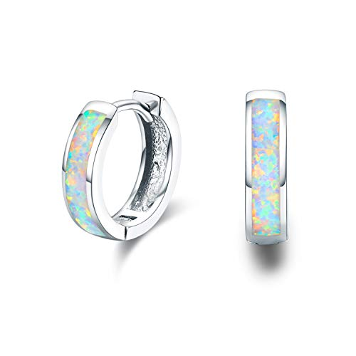 Small Hoop Earrings for Women Hinged Huggie Earrings Simulated Opal Earrings Hypoallergenic Earrings for Sensitive Ears 925 Sterling Silver Earrings for Women Jewelry for Women (White Opal)