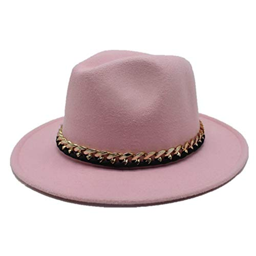 Pork Felt Fur Pie (Fashion Wool Pork Pie Boater Jazz Top Hat for Women's Men's Felt Wide Brim Fedora Gambler Hats Pink)