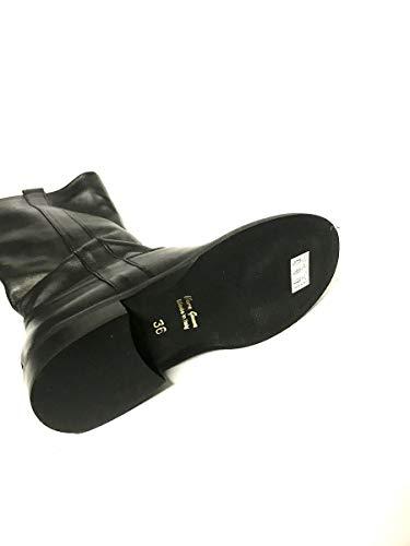 Made In Nero Vera Donna Stivali Italy Zeta Tacco Shoes Pelle Basso txq8gS4