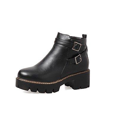 DESY Damen Schuhe PU Herbst Winter Komfort Stiefel Blockabsatz Runde Zehe Schnalle Reißverschluss Für Schwarz Grau Braun brown