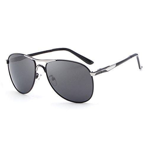 aff00314f1c HDCRAFTER Metal Frame Mirrored Polarized Aviator Sunglasses for Men Women
