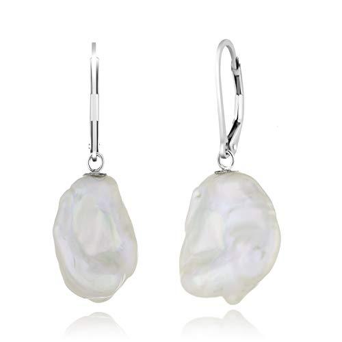 925 Sterling SIlver Lever-back Earrings 13-15mm Coin Shape White Keshi Pearls ()