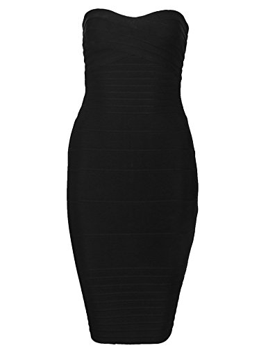 Cocktail Women's Bandage Dress Meilun Black Bodycon Strapless Dress IzP1nx6
