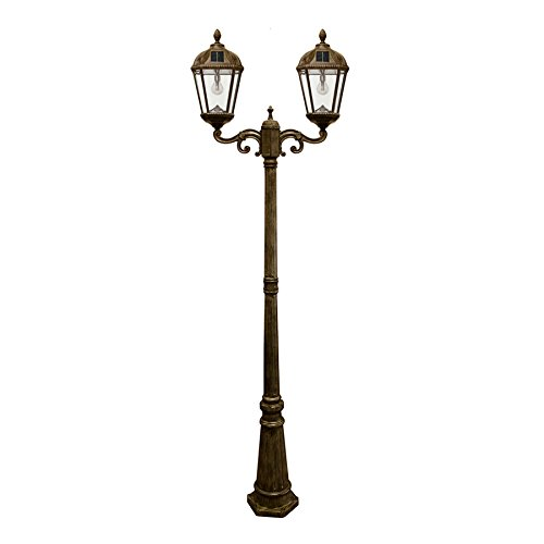 (Gama Sonic GS-98B-D-WB Royal Bulb Double Head Lamp Post 2 Outdoor Solar Lights on Pole, Weathered Bronze)
