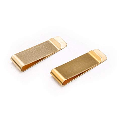 Solid Brass Money Clip - Lominc 2PCS Vintage Basic Functional Brass Copper Money Clip Classic Cash & Credit Card Holder, Brushed Treated Clips for Receipts