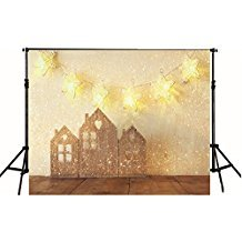 Snow Christmas Studio Background 6 5X5 Photo Backdrop Twinkle Gold Stars With Wooden House For Baby Brown Wood Floor Backgrounds Newborn