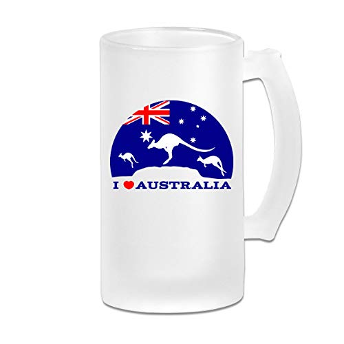 I Love Australia and Kangaroo Frosted Beer Glass Personalized for sale  Delivered anywhere in Canada